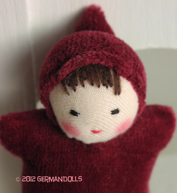 Wee Burgundy Baby,  Red Pocket doll made in the Waldorf Tradition, Waldorf Toy
