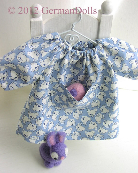 Small Blue 12 INCH - Rogue Bunny Pocketdress, Waldorf inspired Doll Dress and Wee Needlefelted Bunny