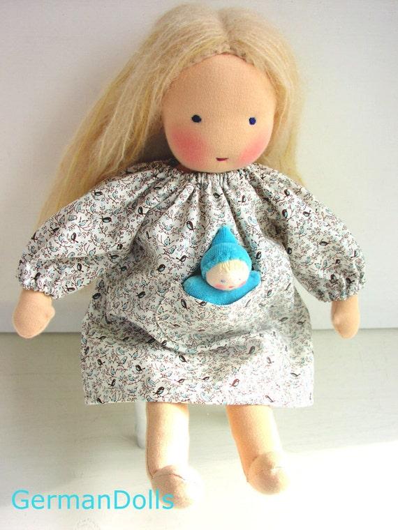 Waldorf doll clothes, Birds Blue Pocketdress for 14 -15 inch doll, Waldorf inspired Doll Dress