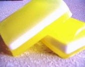 SALE -- Lemon Yellow striped bar soap, INVIGORATING scent, for men or women Great Gift