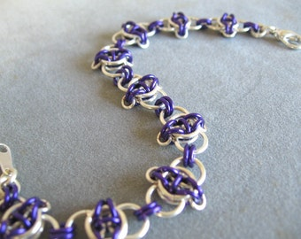 Orchid Purple and Silver Celtic Chainmaille Bracelet