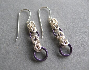 Purple and Silver Chainmaille Earrings