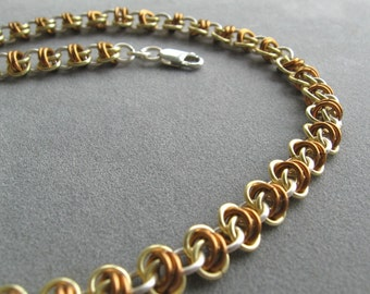Bronze, Silver, and Gold Chainmaille Necklace