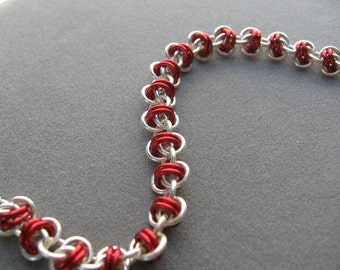 Vibrant Red and Silver Barrel Chainmaille Bracelet