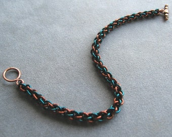 Aqua and Brown JPL Chainmaille Bracelet