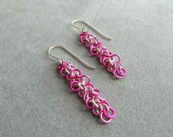 Rose and Fuchsia Chainmaille Earrings