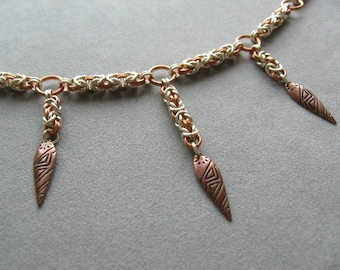 Copper and Silver Byzantine Chainmaille Necklace