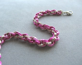 Fuchsia, Rose and Silver Double Spiral Chainmaille Bracelet