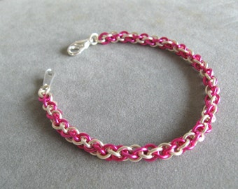 Fuchsia and Silver Chainmaille Bracelet