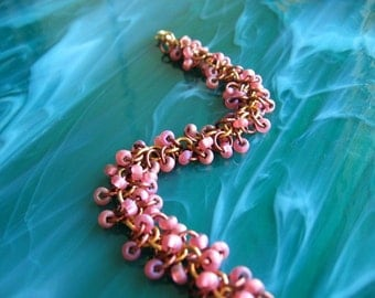 Pink Opal Beaded Chainmaille Bracelet