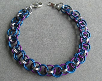 Violet and Blue Helm Chain Chainmaille Bracelet
