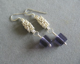 Amethyst Crystal Byzantine Chainmaille Earrings