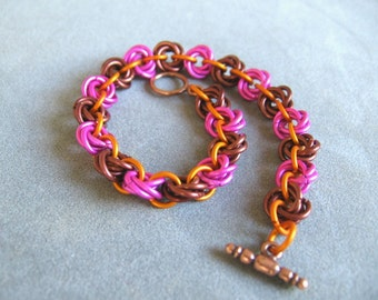 Pink and Brown Flower Chainmaille Bracelet