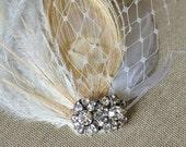 SIGRID  - Vintage Inspired, Peacock, Fascinator,  Bridal Headpiece
