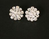 Bridal Crystal Earrings, Rhinestone Earrings, Sterling Silver, Art Deco Earrings, - DAHLIA