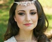 Bridal Halo, Grecian Headpiece, Rhinestones Headband, Pearls Headband, Tiara, Bridal Headpiece, - Aphrodite