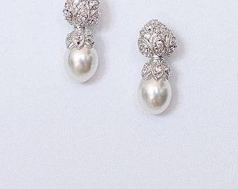 SIGRID art deco pearl bridal earrings crystal embellished pearl drop earrings cocktail earrings wedding jewelry dangle earrings
