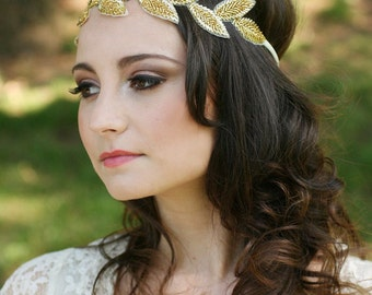 Grecian Headpiece, Halo Headpieces, Leaf Headband, Leaf Headpiece - CHLOE - Gold or Silver