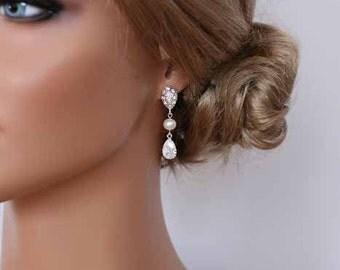 Bridal Earrings Silver Cubic Zirconia Crystal Teardrop Earrings Art Deco Pearl Earrings Bridesmaid Gifts Wedding Jewelry