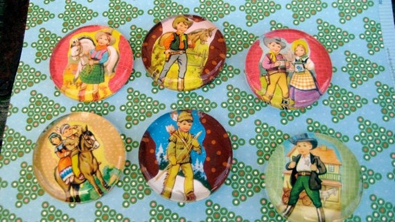 6 -Retro Kids Playing Cowboys & Indians, handmade Glass Paperweights or Magnets(You Choose 6 Designs) Holiday Birthday SALE