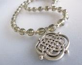 Smoky Gray Czech Crystal Celtic Necklace Handmade