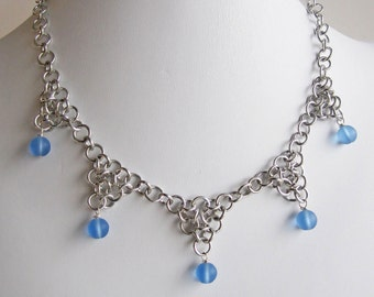 Blue and Silver Chainmaille Triangle Necklace Handmade