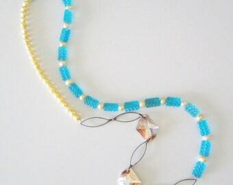 Asymmetrical Gold Swarovski Yellow Pearl Turquoise Glass Necklace Handmade