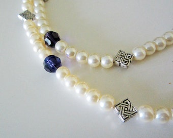 Celtic Purple Swarovski Crystal Pearl Necklace Handmade Wedding