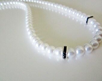 Black Swarovski Crystal White Pearl Necklace Handmade Wedding
