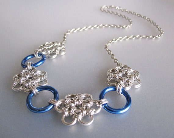 Blue Daisy Flower Chainmaille Necklace Handmade