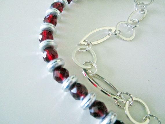 Asymmetrical Garnet Czech Crystal and Silver Necklace Handmade