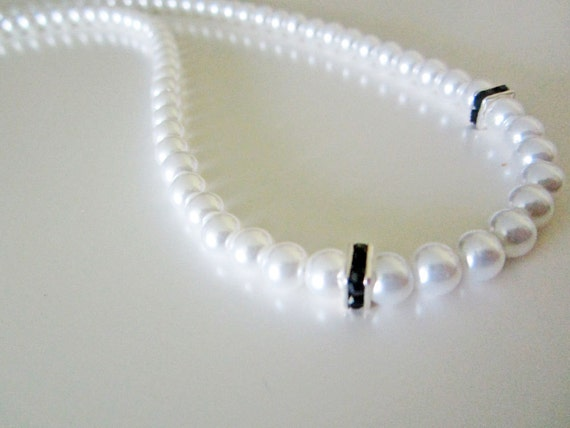 Black Swarovski Crystal White Pearl Necklace Handmade Wedding