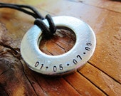Washer Necklace with double-sided stamping, choose from 8 colors of waxed cotton cord