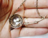Personalized Nest on a Branch (antiqued brass & pearl necklace)