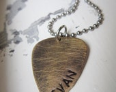 Antique Brass and Stainless Steel Guitar Pick Necklace