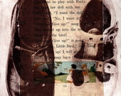 Alice and Patty ... Shoes ... Large Etching on Vintage Book Page
