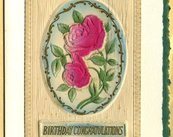 Birthday Congratulations ... Vintage Embossed Postcard on Greeting Card