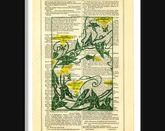Shakespeare Morning Glory Ivy Print on Antique Book Page