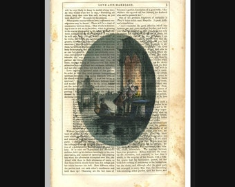 Venice Lovers Print on Antique Book Page