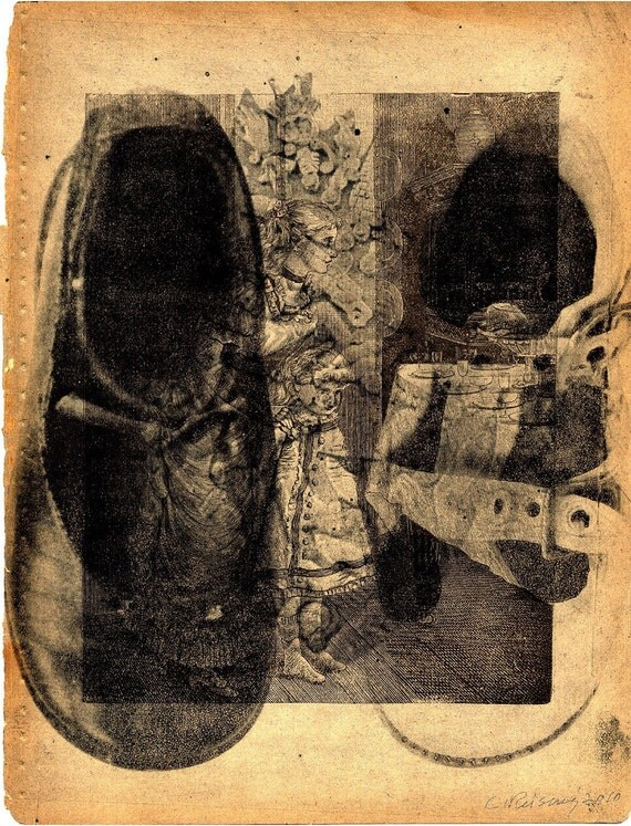 Shoes ... Etching on Vintage Book Page