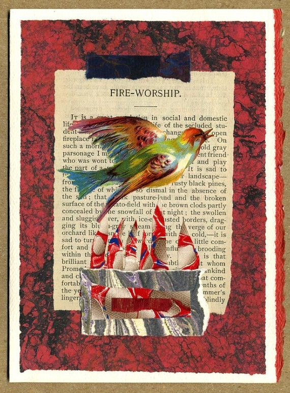 Fire Worship ... Collage Greeting Card