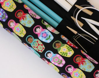 knitting needle case - knitting needle organizer - circular knitting needle case - colorful matryoshka dolls on black - 36 pockets