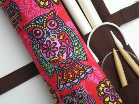 large knitting needle case - large knitting needle organizer - fun tiki owls on red and pink - 36 pockets