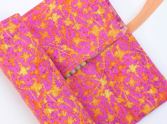 double pointed knitting needle case - crochet hook - organizer - 28 pockets - bright and cheery