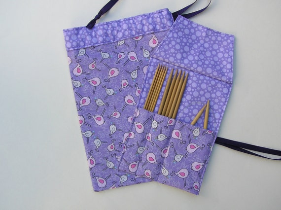 double pointed needle case - organizer and project - sock bag set - pink birds on purple