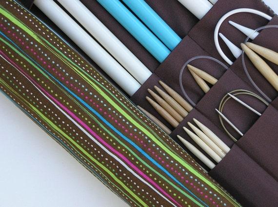 large knitting needle organizer - knitting needle case - modern stripes  - 36 pockets