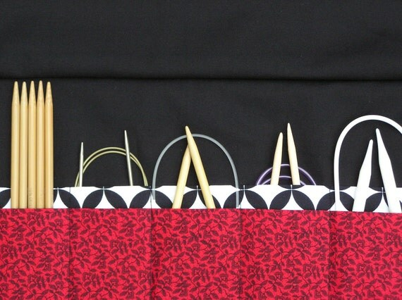 circular knitting needle case - double pointed knitting needle case - organizer -black petite floral on red