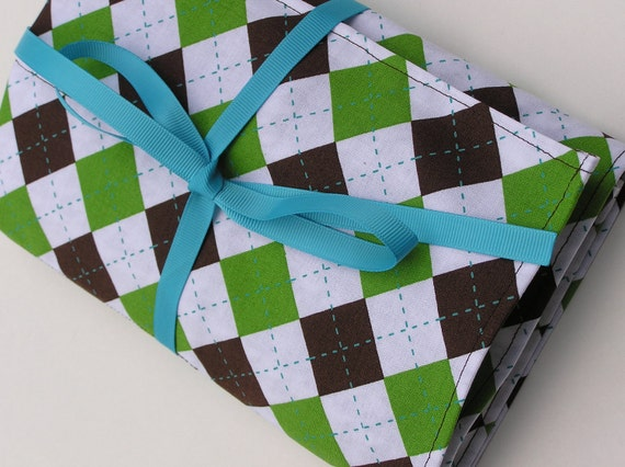 circular knitting needle case - double pointed knitting needle case - organizer -argyle and houndstooth in brown, green and blue