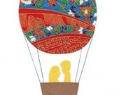 Hot Air Balloon Wedding - papercut collage card