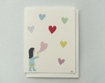 Heart Bubbles - papercut collage card